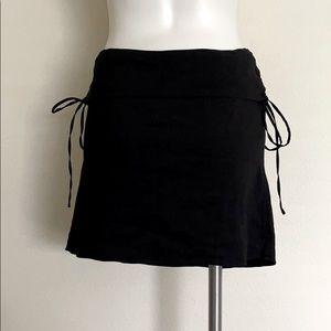 Theory Black Stretch Linen Side Tie Mini Skirt